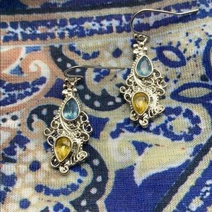 Aquamarine And Citrine French Ear Wires